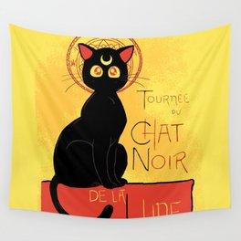 Chat Noir de la Lune Wall Tapestry