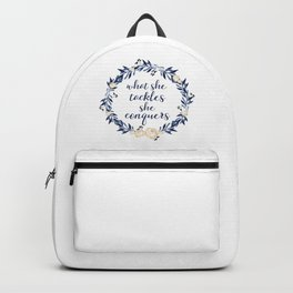 """What She Tackles, She Conquers"" Backpack"