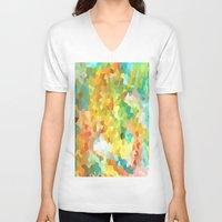 splatter V-neck T-shirts featuring Paint Splatter by Rosie Brown