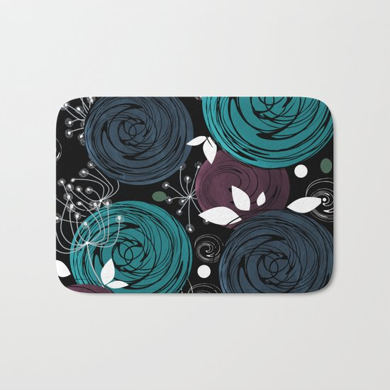 Abstract flowers on a black background . Bath Mat