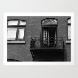 French Balcony in Quebec City Art Print