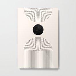 Rainbow Lines - Black Abstract Geometric Shapes - Mid Century Boho Decor Minimalist Art Metal Print