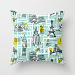 Globetrotter Throw Pillow