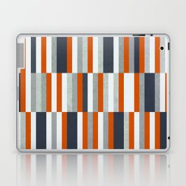 Orange, Navy Blue, Gray / Grey Stripes, Abstract Nautical Maritime Design by Laptop & iPad Skin