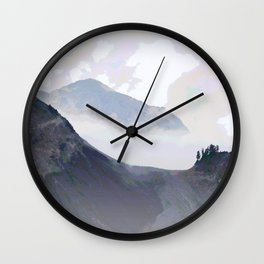 COOL MISTS OVER VOLCANIC TERRAIN Wall Clock