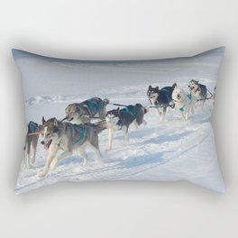 Husky dogs  and alaskan malamute at race in winter. Rectangular Pillow