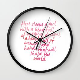 Here sleeps a girl with a head full of magical dreams Wall Clock