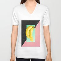 eat V-neck T-shirts featuring Eat Banana by Danny Ivan