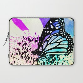 Beautiful Butterfly Sitting on a Flower with Colorful Background Laptop Sleeve