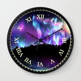 Northern landscape with howling wolf spirit and aurora borealis Wall Clock