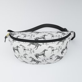 HORSES BLACK AND WHITE Fanny Pack