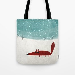the fox in the snow Tote Bag