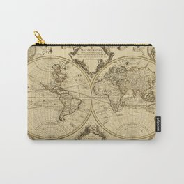 1720 Old World Map Historic Map Antique Style World Map Guillaume de L'Isle mappe monde Wall Map Carry-All Pouch