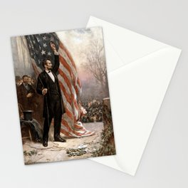 President Lincoln Giving A Speech Stationery Cards