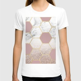 Cherished aspirations rose gold marble T-shirt