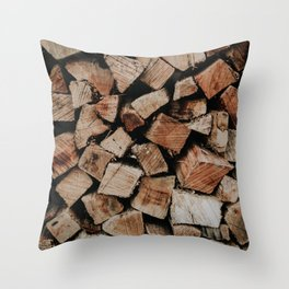 Chopped Firewood Stack Throw Pillow