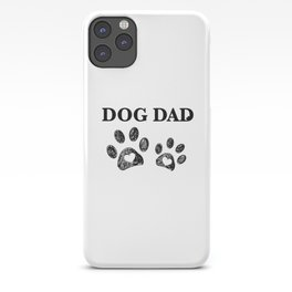 Paw print with hearts. Dog dad text. Happy Father's Day background iPhone Case