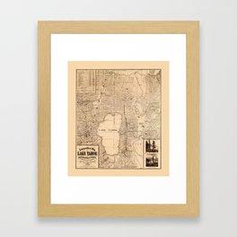 Map Of Lake Tahoe 1874 Framed Art Print
