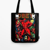 obey Tote Bags featuring OBEY! by sasha alexandre keen
