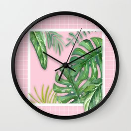 Green on Pink Wall Clock