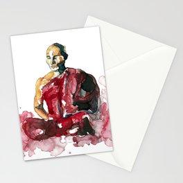 Meditating monk Stationery Cards