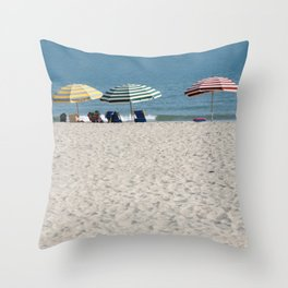 Bald Head Island Beach Umbrellas | Bald Head Island, North Carolina Throw Pillow