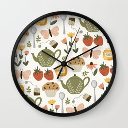Afternoon Tea Time in the Garden Wall Clock
