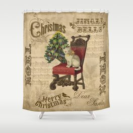 Vintage Christmas Cat Shower Curtain