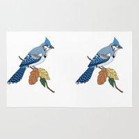 jay fleck Area & Throw Rugs featuring Blue Jay by Melrose Illustrations