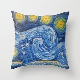 Starry Tardis Night Throw Pillow