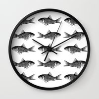 goldfish Wall Clocks featuring Goldfish by Meredith Mackworth-Praed