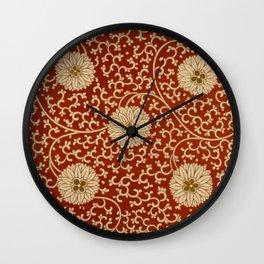 Red Chrysanthemums Wall Clock