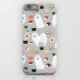 Japanese Spitz sushi kawaii dog portrait custom pet lover pattern by pet friendly iPhone Case