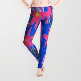 Classic Pink and Blue Floral Leggings
