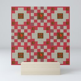 project for a quilt red and beige with floral patterns Mini Art Print