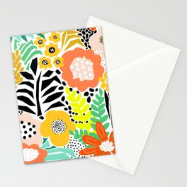 Summer Flower Field Abstract Orange Black Yellow Green White Pattern Large Stationery Cards