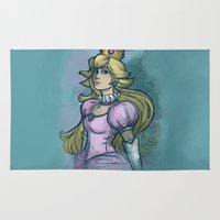 princess peach Area & Throw Rugs featuring Princess Peach by Karen Hallion Illustrations