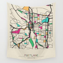 Colorful City Maps: Portland, Oregon Wall Tapestry