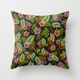 Hawaiian Pattern - Black Backgorund Throw Pillow