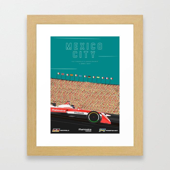 Mahindra Racing FIA Formula E Season Three Race 04 Mexico City ePrix Poster Framed Art Print