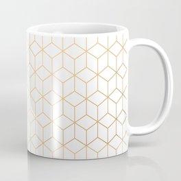 Gold Geometric Pattern on White Background Coffee Mug