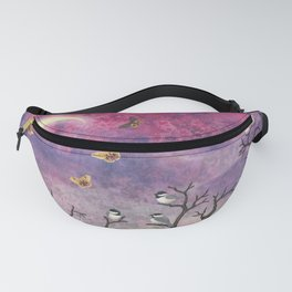 chickadees and io moths in the moonlit sky Fanny Pack