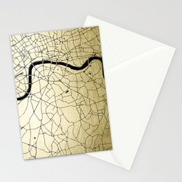 London Gold on Black Street Map Stationery Cards