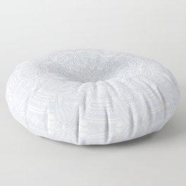 Light Gray Ethnic Eclectic Detailed Mandala Minimal Minimalistic Floor Pillow