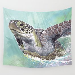 Green Sea Turtle Rides The Waves Wall Tapestry