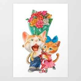 Present a bunch of roses Art Print
