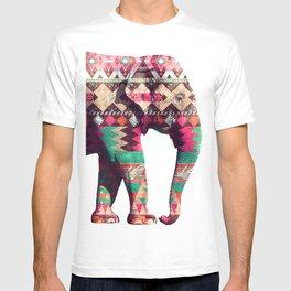 Whimsical Aztec Elephant Pink Turquoise Geometric T-shirt