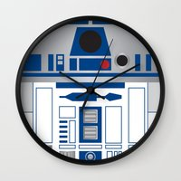 r2d2 Wall Clocks featuring R2D2 by Sam Del Valle
