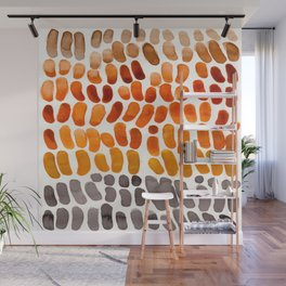 Colorful Watercolor Abstract Scale Bean Pattern Yellow Ochre Brown Orange Wall Mural