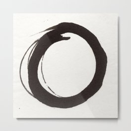 Enso Zen Ink Painting Circle in Black and White Metal Print